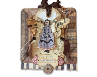 Fairy Child Assemblage, Miniature Collage, Lavender Listening Fairy, Small Girl Fairy Wings, Mixed Media Art Collage, Fantasy Fairy Artwork,