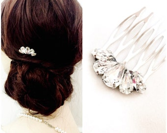 Dainty crystal clear petite hair comb, simple hair comb, small Rhinestone Wedding Hair Comb, Rhinestone Bridal Comb, DAPHNE