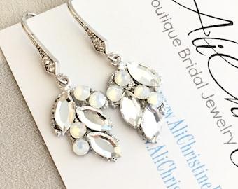 Leaf Rhinestone Bridal Earrings, Swarovski Bridal Earrings, embellished earrings, opal moonstone crystal earrings