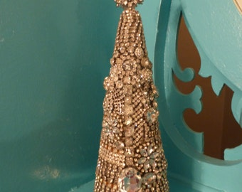 Lovely OOAK Vintage Inspd Rhinestone Jewelry Christmas Tree Cone Decoration no 1