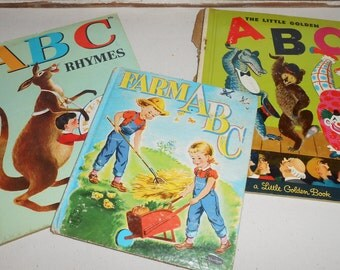Vintage ABC Children's Books, Lot of 3, Little Golden Book, Tell A Tale Book