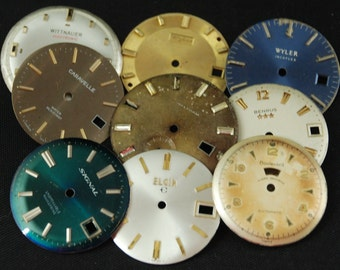 Vintage Antique Watch Dials Steampunk small round Faces Parts O 71