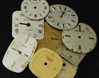 Vintage Antique Watch Dials Steampunk Faces Parts O 73
