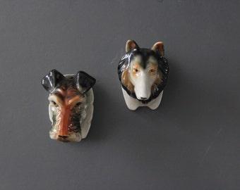 Ceramic Collie Dog Wall Pocket Planter