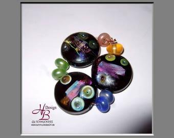 3 Lentil Beadset , Beadset, SRA B131,colorful beads set, Lampwork, Murano