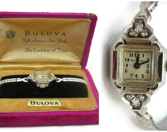 Ladies Bulova Watch - 14k White Gold and Diamond Watch, Original Case, 1940s