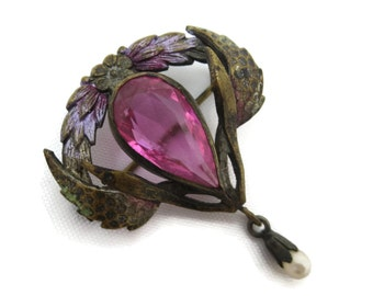 Art Nouveau Jewelry Brooch - Pink Paste Stone, Faux Pearl Dangle