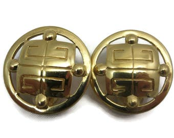 Givenchy Earrings - Vintage Gold Designer Costume Jewelry, Logo Earrings, Clip On