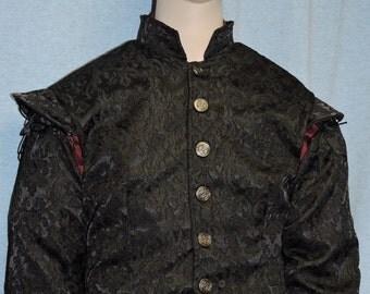CLEARANCE Black Brocade Renaissance Medieval Celtic Doublet Pirate Jerkin Vest