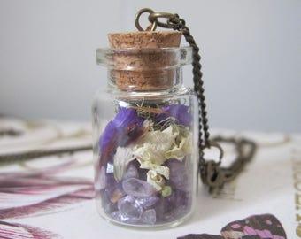Amethyst Faerie Pixie Terrarium Necklace Flowers Gemstone