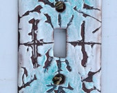 Free Shipping One of a Kind Sgraffito Enameled Light Switch Plate Cover