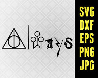 Harry Potter SVG Iron On Decal Cutting File / Clipart in Svg, Eps, Dxf, Png, Jpeg for Cricut Silhouette Universal Studios Hogwarts Always