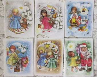 Vintage Western Germany 6 Christmas Angel Tags Gift Cards 3-D  Old Store Stock