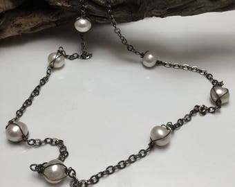 Nineteen Inch Pearl and Blackened Silver Short Necklace Antiqued Silver  Large Pearls Necklace Choker Style
