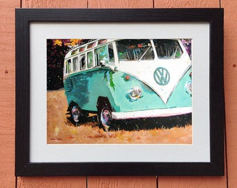 "Volkswagen Bus Art ""Turquoise Weekend"" Framed and Matted Print Signed and Numbered (Three Sizes to Choose From)"