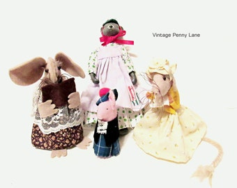 Vintage Handmade Mouse Doll Lot / Collection