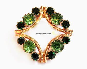 Green Rhinestone Brooch, Vintage Gold Pin