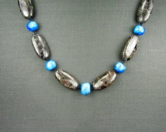 Jasper and Blue Stone Knotted Necklace