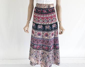 Vintage 70's India Cotton Hippie Wrap Skirt