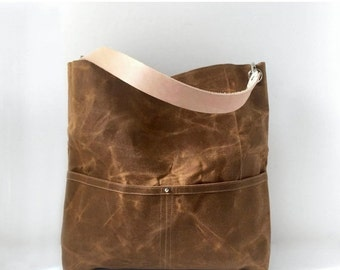 Casual Tote Bag, Waxed Canvas Tote Bag, Bucket Bag, Handbag, Hobo Bag, Everyday Bag