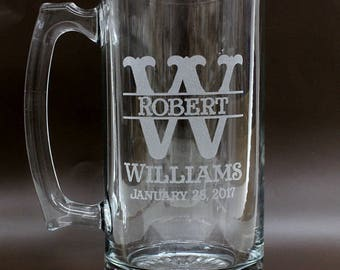 Engraved Beer Mug,Personalized Beer Mug,Groomsmen Mug,Personalized Glasses,Beer Stein,Etched Beer Mug,2 Side Engraving