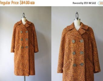 STOREWIDE SALE 1950s Pumpkin Wool Coat / Vintage 50s 60s Double Breasted Coat / 50s Orange Wool Boucle Coat