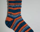 May Sale Handknitted Socks in Blue and Orange