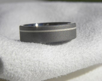 Ring or Wedding Band, Titanium Sterling Silver Pinstripe Ring, 5mm size 7.75
