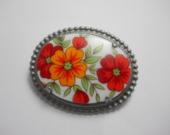 Hair Clip Red Large Glass Vintage Cabochon with Bright Red Flowers in Silver Beaded Setting with Authentic French Hair Clip Made in France