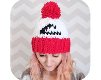 winter pompom ash ketchum hat - pokemon indigo league anime - vegan pompom hat - halloween cosplay costume