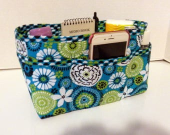 "Purse Organizer Insert/Enclosed Bottom  4"" Depth/ Turquoise, Lime Green, and Brown Print"