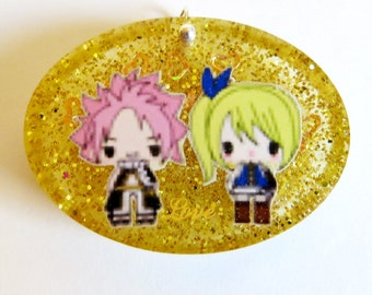 Natsu and Lucy Nalu Love Oval Resin Pendant Necklace or Keychain