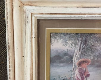 Shabby Chic Chippy Distressed Sweet Bo Peep Wall Art UPCYCLED Free Shipping!