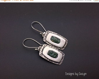 ON SALE Sterling silver dangle earrings with crushed Fuschite