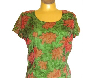 1950s 1960s Silk Blouse / Green and Pink Floral Print / Scoop Neck Top wit Cap Sleeves / Rockabilly Top