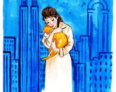 Coupon Code VALENTINE2017 for 40% discount Breakfast At Tiffany's Print of Original Watercolor Fashion Illustration