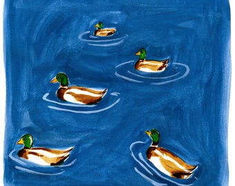 Water Off A Duck's Back Pattern Print Of Gouache Illustration