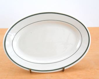 Vintage Shenango China Small Oval Plate • Vintage Restaurant Mini Side Plate • Vintage Oval Green Ring Bread and Butter Plate