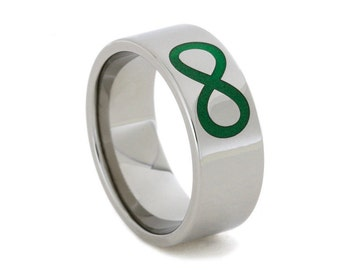 Titanium Ring Engraved with Glow-in-the-Dark Infinity Symbol