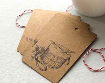 20 Holiday Drum gift tags, Little Drummer Boy gift tags, holiday gift tags, Kraft gift tags, Christmas gift tags, Rustic Christmas gift tags