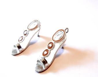 Set of Two Sandal or Open Shoe High Heel Charms Silver-tone