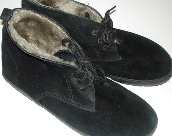 vintage Heritage Footwear fur lined black suede granny boots mens 6 womens size 8W