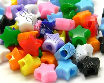100 Assorted Opaque Color 11mm Star Shaped Plastic Acrylic Pony Beads With Big 4mm Hole