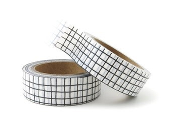 Washi Tape - Black Graph - Grid Washi Tape - 15mm x 10 Metres - Black Washi Tape - Washi Tape Australia