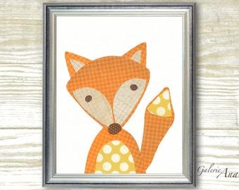Kids wall art - Kids Room Decor - kids room decor - nursery fox - woodland - kids fox - forest - Le Renard print