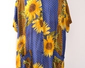 Fabulous Van Gogh Inspired Sunflower and Star Print Top. Oversized Cover up. Free Size.