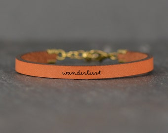 wanderlust bracelet | wander bracelet | wanderlust | travel gift | bracelets | jewelry | leather bracelet | word jewelry | laurel denise