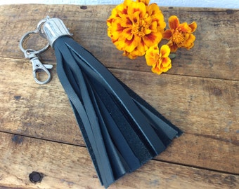 Black Leather Tassel Keychain by Binding Bee RECLAIMED leather