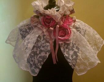 Victorian Style flower ruffle scarflette choker.
