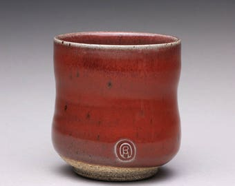 handmade pottery cup, ceramic tea cup, yunomi with bright red and green celadon glazes